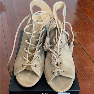 Lace up nude booties